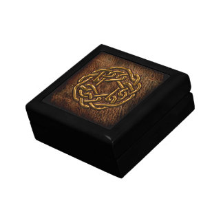Golden celtic knot on leather gift box