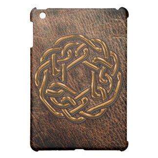 Golden celtic knot on leather iPad mini case