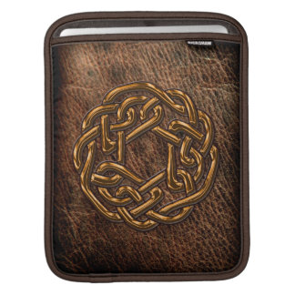 Golden celtic knot on leather iPad sleeve