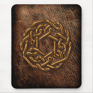 Golden celtic knot on leather mouse mat