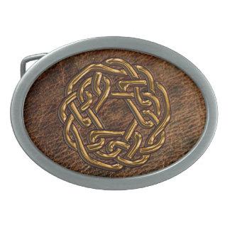 Golden celtic knot on leather oval belt buckle