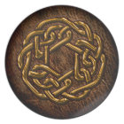 Golden celtic knot on leather plate