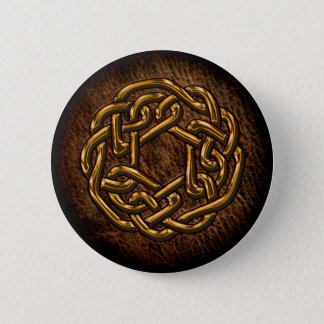 Golden celtic ornament on leather 6 cm round badge