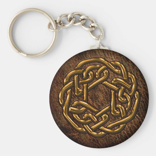Golden celtic ornament on leather basic round button key ring