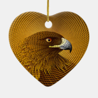 Golden Ceramic Heart Decoration