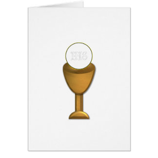 Golden Chalice and Host - Holy Communion Greeting Card