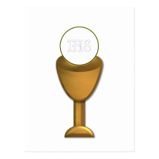 Golden Chalice and Host - Holy Communion Postcard