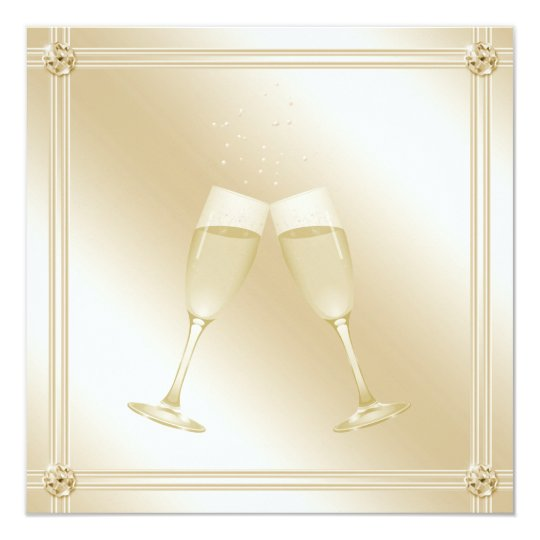 Golden Champagne Glass & Sapphire Engagement Party Card
