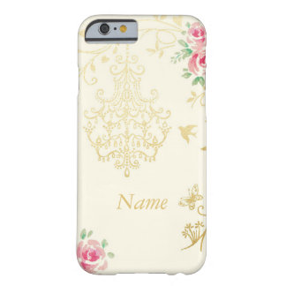 Golden chandelier and pink rose floral barely there iPhone 6 case