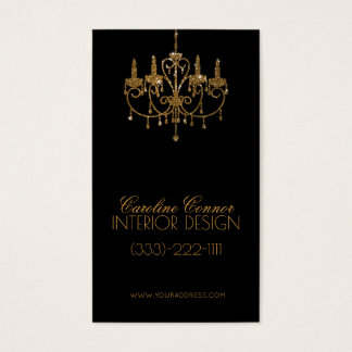 Golden Chandelier Interior Designer Black Card