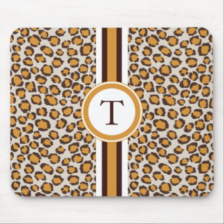 golden cheetah print  with monogram mouse mat