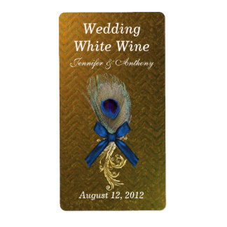 Golden Chevron Peacock Feather Wedding Mini Wine