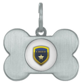 Golden Chief Badge Pet Name Tag