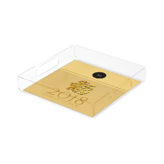 Golden Chinese Dog Papercut 2018 Monogram Square T Acrylic Tray