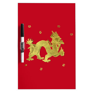 Golden Chinese Dragon Dry Erase Board