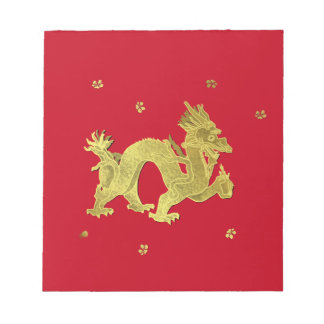 Golden Chinese Dragon Notepad