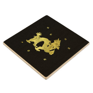Golden Chinese Dragon Wood Coaster