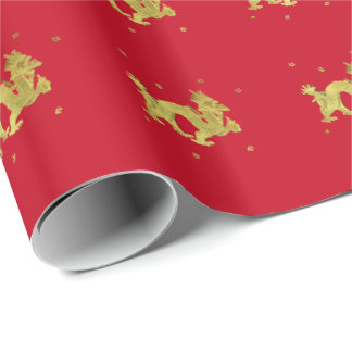 Golden Chinese Dragon Wrapping Paper