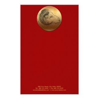 Golden Chinese Ram Year or Birthday stationery