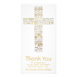 Golden Christian Cross John 14  Sympathy Thank You Photo Cards