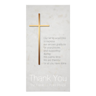 Golden Christian Cross Modern Sympathy Thank You Photo Card