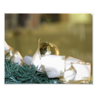 Golden Christmas Bauble With White Ribbon Photo Art