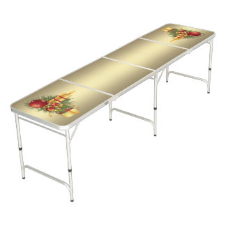 Golden Christmas Candle Beer Pong Table