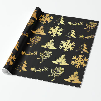 Golden christmas figures on black wrapping paper