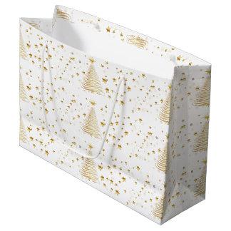 Golden Christmas Gift Bag - Large, Glossy