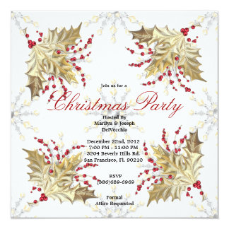 Golden Christmas Mistletoe Holiday Party Invite