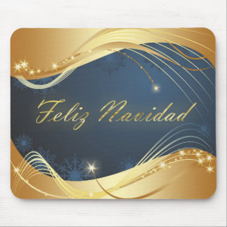 Golden Christmas motive with blue background... Mouse Mat