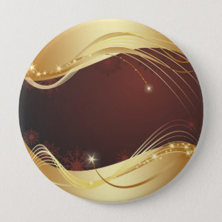 Golden Christmas motive with red background... 10 Cm Round Badge