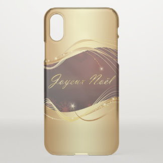 Golden Christmas motive with red background... iPhone X Case