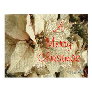 Golden Christmas Poinsettia  customize Postcard
