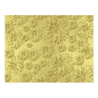 Golden Christmas Poinsettias on Foil Paper Postcard