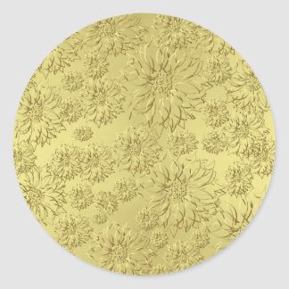 Golden Christmas Poinsettias on Foil Paper Classic Round Sticker