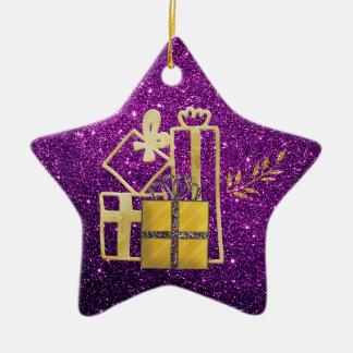 Golden Christmas Presents Purple Faux Glitter Christmas Ornament