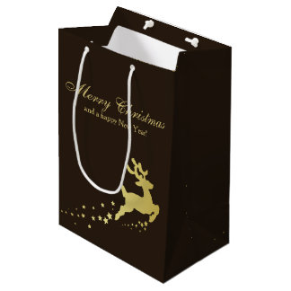 Golden Christmas Reindeer - Medium Gift Bag