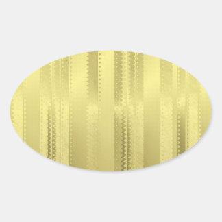 Golden Christmas Ribbon Stripes on Foil Paper Oval Sticker
