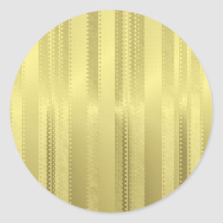 Golden Christmas Ribbon Stripes on Foil Paper Round Sticker