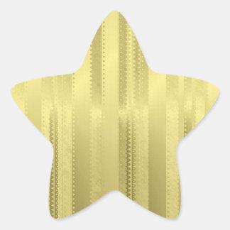 Golden Christmas Ribbon Stripes on Foil Paper Star Sticker