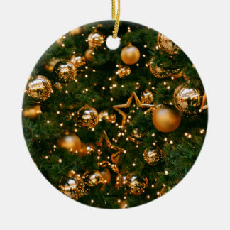 Golden Christmas Round Ceramic Decoration