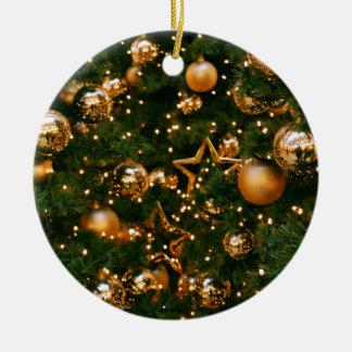 Golden Christmas Round Ceramic Decoration