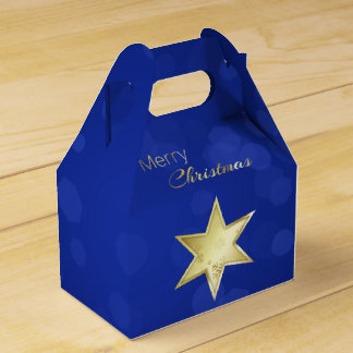 Golden Christmas Star Blue Bokeh - Gable Favor Box Party Favour Box