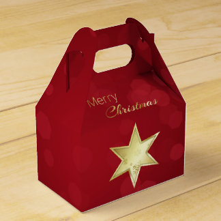 Golden Christmas Star Red Bokeh - Gable Favor Box