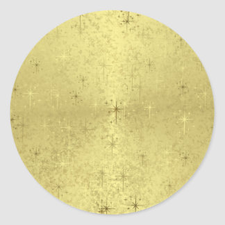 Golden Christmas Stars on Foil Paper Round Stickers