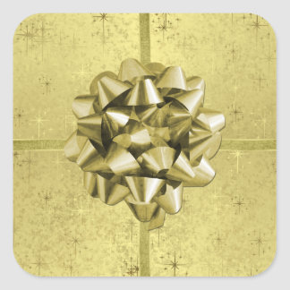 Golden Christmas Stars, Ribbons & Bow on Foil Stickers