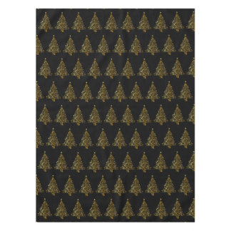 Golden Christmas Tree Designer Tablecloth - Small