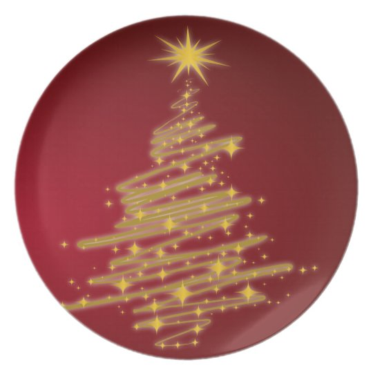 golden christmas tree plate