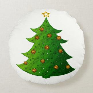 Golden Christmas Tree Round Cushion